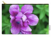 Purple Tulip Blossom With Dew Drops On The Petals Carry-all Pouch