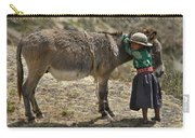 Quechua Girl Hugging His Donkey. Republic Of Bolivia. Carry-all Pouch