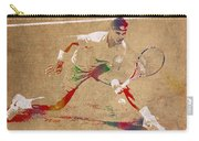 Rafael Nadal Tennis Star Watercolor Portrait On Worn Canvas Carry-all Pouch
