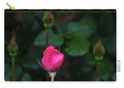 Rain Covered Pink Rose And Buds Carry-all Pouch