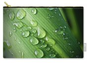 Rain Drops On A Flax Leaf Carry-all Pouch