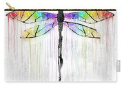 Abstract Dragonfly - White Rainbow Carry-all Pouch