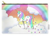 Rainbow Unicorn Clouds And Stars Carry-all Pouch