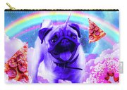 Rainbow Unicorn Pug In The Clouds In Space Carry-all Pouch