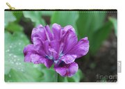 Raindrops Clinging To The Purple Petals Of A Tulip Carry-all Pouch
