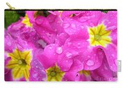 Raindrops On Pink Flowers 2 Carry-all Pouch by Carol Groenen