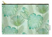 Rainforest Tropical - Elephant Ear And Fan Palm Leaves Repeat Pattern Carry-all Pouch