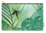 Rainforest Tropical - Philodendron Elephant Ear And Palm Leaves W Botanical Butterfly Carry-all Pouch
