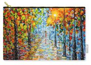 Rainy Autumn Evening In The Park Acrylic Palette Knife Painting Carry-all Pouch