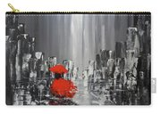 Rainy Day City Girl In Red Carry-all Pouch