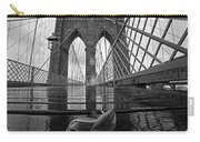 Rainy Day On The Brooklyn Bridge Brooklyn New York Tulip Petals Black And White Carry-all Pouch