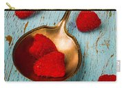 Raspberries With Antique Spoon Carry-all Pouch