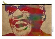 Ray Charles Watercolor Portrait On Worn Distressed Canvas Carry-all Pouch