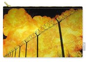 Realistic Fiery Explosion Behind Restricted Area Barbed Wire Fence Carry-all Pouch