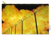 Realistic Orange Fire Explosion Behind Restricted Area Barbed Wire Fence, Blurred Background Carry-all Pouch