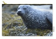 Really Cute Harbor Seal On Seaweed Carry-all Pouch