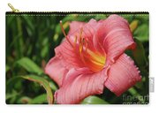 Really Pretty Blooming Pink Daylily In A Garden Carry-all Pouch