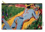 Reclining Blue Nude With Straw Hat Carry-all Pouch
