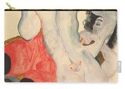 Reclining Woman In Red Trousers And Standing Female Nude Carry-all Pouch by Egon Schiele