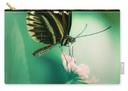 Red And Black Butterfly On White Flower Carry-all Pouch