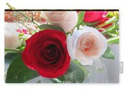 Red And Cream Tea Roses In Crystal Carry-all Pouch