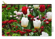 Red And White Tulips With Red And Pink English Daisies In Spring Carry-all Pouch