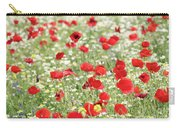 Red And White Wild Flowers Spring Scene Carry-all Pouch