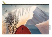 Red Barn Snow Western - Countryside Painting Carry-all Pouch