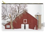 Red Barn Winter Country Landscape Carry-all Pouch by James BO  Insogna