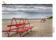 Red Bench On A Beach Carry-all Pouch
