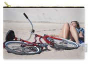 Red Bike On The Beach Carry-all Pouch