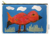 Red Bird In Grass Carry-all Pouch