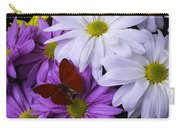Red Butterfly On Assorted Mums Carry-all Pouch