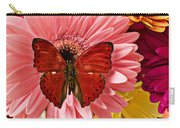 Red Butterfly On Bunch Of Flowers Carry-all Pouch