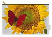 Red Butterfly On Sunflower On Red Pitcher Carry-all Pouch by Garry Gay