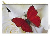 Red Butterfly On White Roses Carry-all Pouch by Garry Gay