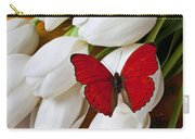 Red Butterfly On White Tulips Carry-all Pouch by Garry Gay