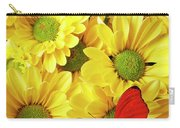 Red Butterfly On Yellow Mums Carry-all Pouch
