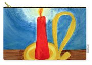 Red Candle Lighting Up The Dark Blue Night. Carry-all Pouch