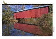Red Covered Bridge And Reflection Carry-all Pouch