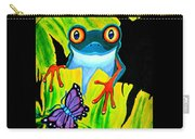 Red Eyed Tree Frog And Purple Butterfly Carry-all Pouch
