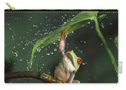 Red-eyed Tree Frog In The Rain Carry-all Pouch by Michael Durham