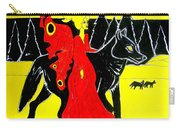 Red Faerie And Black Wolf With Yellow Moon Carry-all Pouch