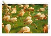 Red Florida Flamingos In Green Water Carry-all Pouch