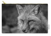 Red Fox In Black And White Carry-all Pouch
