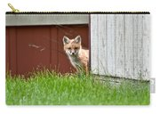 Red Fox Kit Peaking Around Old Barn Carry-all Pouch