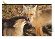 Red Fox Vixen With Pup On Hecla Island In Manitoba Carry-all Pouch