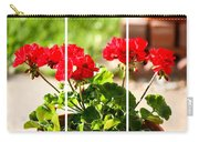 Red Geraniums Triptych Carry-all Pouch