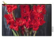 Red Gladiolus In Striped Vase Carry-all Pouch