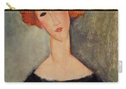 Red Head Carry-all Pouch by Amedeo Modigliani